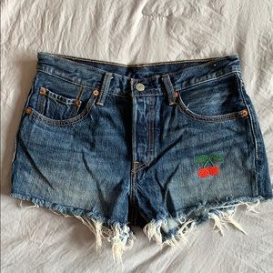 Levi's 501 Cherry Embroidered Shorts